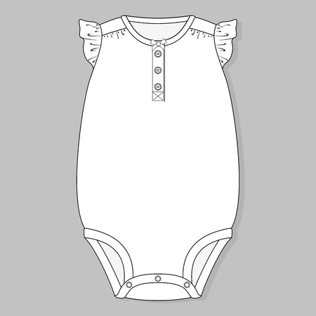 one piece baby bodysuit flat sketch template isolated on grey background Ilustração