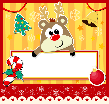 bebe a bordo: reno lindo bebé con la tarjeta en blanco y la decoración de la Navidad Vectores