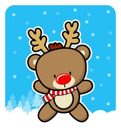 nariz roja: lindo reno rojo de la nariz del bebé en el fondo de invierno