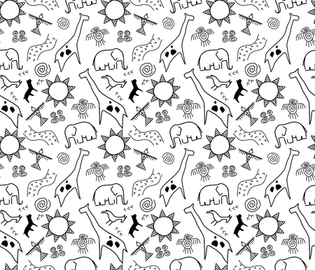 abstract animal: rock art seamless pattern in black and white Illustration