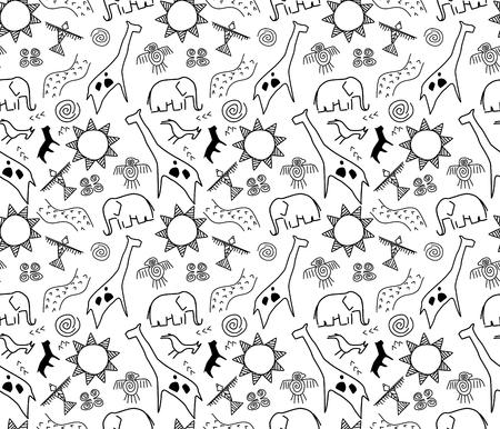 rotskunst naadloos patroon in zwart-wit