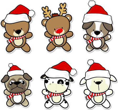pug dog: cute baby animals with christmas hat and scarf Illustration