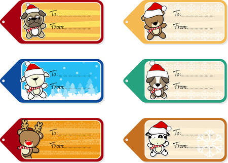 santa claus hats: six christmas gift tags with cute baby animals isolated on white background