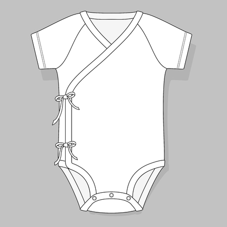 crossover: baby bodysuit crossover raglan flat sketch template isolated on grey background