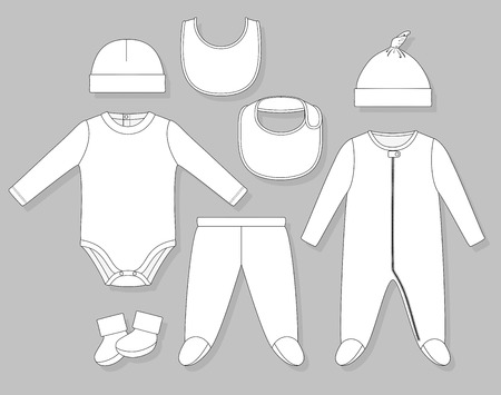 bodysuit: baby boy clothes set flat sketch isolated on grey background Illustration