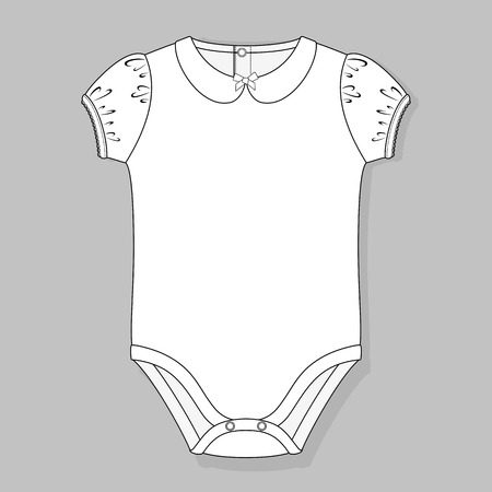 bodysuit: baby girl bodysuit flat sketch template isolated on grey background Illustration