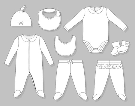 romper: baby girl clothes set flat sketch isolated on grey background