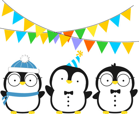 cute three little penguins with hat and party pennants isolated on white