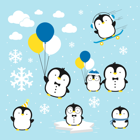 cartoon dad: cute little penguins set with design elements isolated on blue background