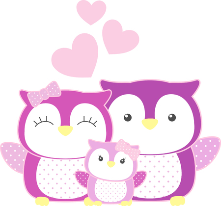 cute baby girl owl and parents isolated on white