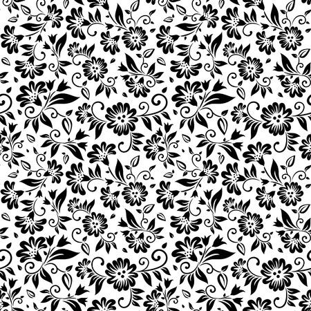Modelo inconsútil floral en blanco y negro con hojas y elementos de diseño de flores