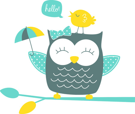 cute happy owl and singing canary on branch isolated on white background Çizim