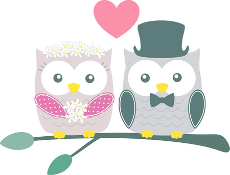 green cute: cute bride and groom owls on green branch isolated on white background