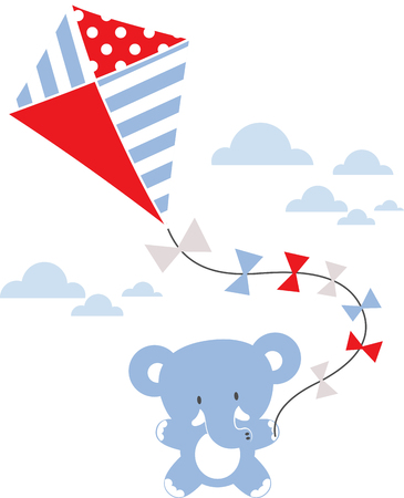 baby animal: cute baby elephant with kite and clouds isolated on white background Illustration