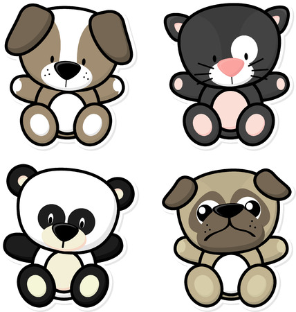 cute dog: vector cartoon illustration of four baby animals isolated on white background, ideal for children decoration Illustration