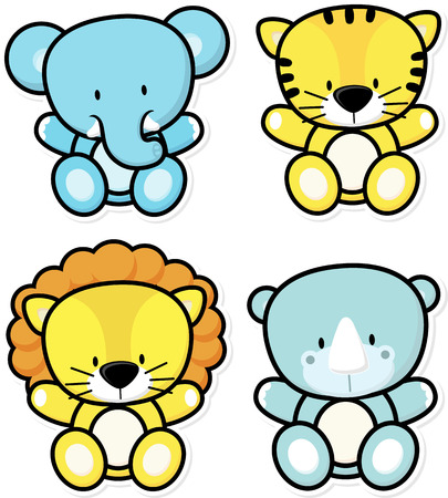 vector cartoon illustration of four baby safari animals isolated on white background, ideal for children decoration Vettoriali
