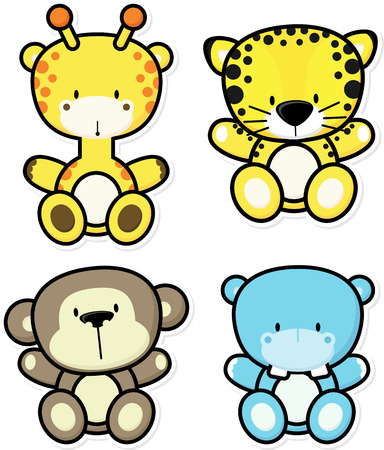 vector cartoon illustration of four baby jungle animals isolated on white background, ideal for children decoration Ilustrace