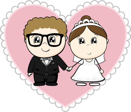 cute young couple, bride and groom with pink heart isolated on white background