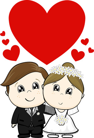 cute wedding characters bride and groom with hearts for copy space isolated on white background