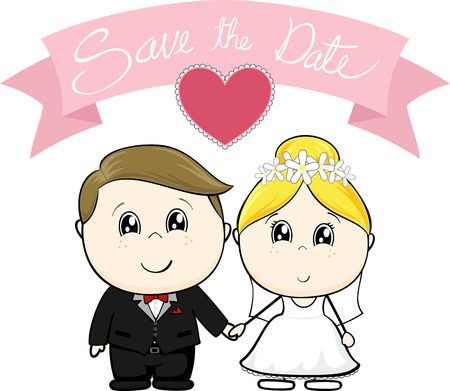married couples: cute young groom and bride in wedding dress with save the date text on pink banner, isolated on white background Illustration