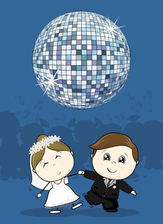 tanzen cartoon: niedliche Braut und Bräutigam erste Tanz Hochzeit mit großer Discokugel, ideal für lustige Party-Einladung