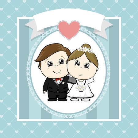 cute bride and groom with hearts and empty banner on seamless hearts pattern, ideal for funny wedding invitations