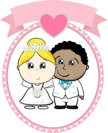 interracial couple bride and groom with white suit on round frame whit heart and empty banner isolated on white background, ideal for funny wedding invitation Illustration