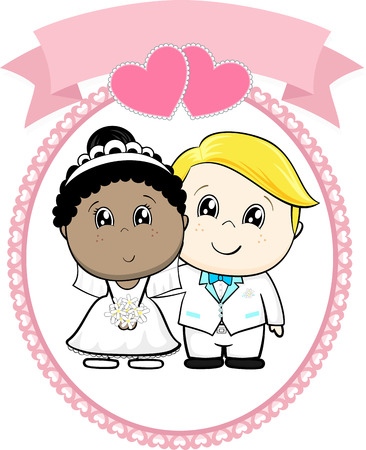 inter racial couple bride and groom with white suit on round frame whit heart and empty banner isolated on white background, ideal for funny wedding invitation