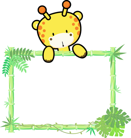 cute baby giraffe on blank board with bamboo frame isolated on white background Ilustração