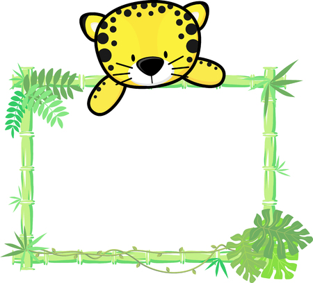 bamboo frame: cute baby jaguar on blank board with bamboo frame isolated on white background Illustration