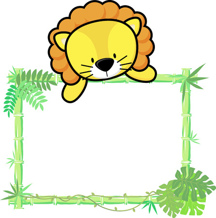 bamboo frame: cute baby lion on blank board with bamboo frame isolated on white background Illustration