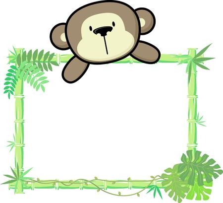 cute baby monkey on blank board with bamboo frame isolated on white background Ilustração