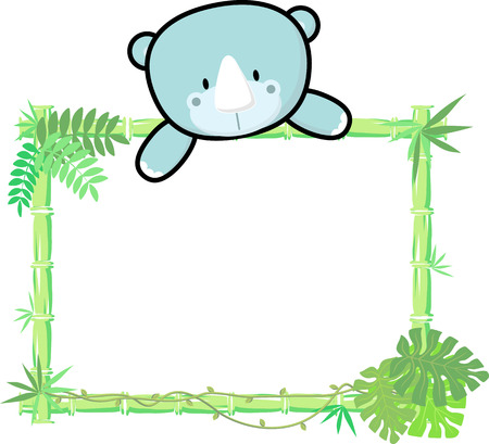 bamboo frame: cute baby rhino on blank board with bamboo frame isolated on white background Illustration