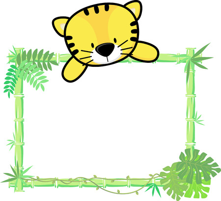 cute baby tiger on blank board with bamboo frame isolated on white background