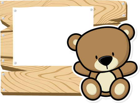 bebe a bordo: illustration of cute baby teddy bear on wooden board with blank sign isolated on white background Vectores