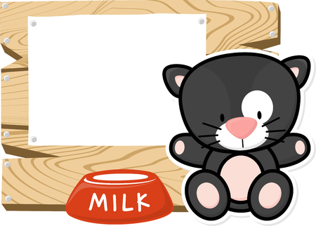 bebe a bordo: illustration of cute baby black cat on wooden board with blank sign isolated on white background