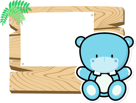 bebe a bordo: illustration of cute baby hippo on wooden board with blank sign isolated on white background