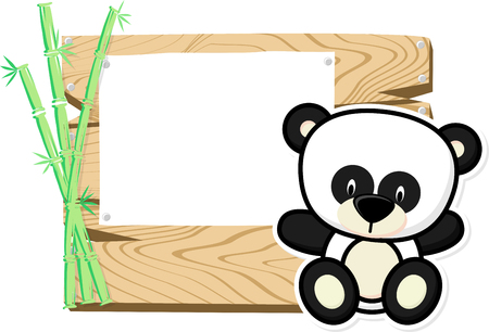 bebe a bordo: illustration of cute baby panda on wooden board with blank sign isolated on white background