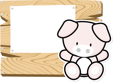 bebe a bordo: illustration of cute baby pig on wooden board with blank sign isolated on white background