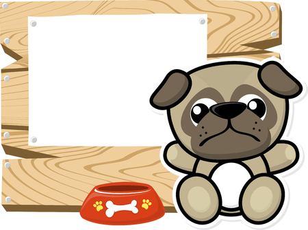 bebe a bordo: illustration of cute baby pug on wooden board with blank sign isolated on white background
