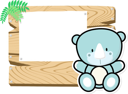 bebe a bordo: illustration of cute baby rhino on wooden board with blank sign isolated on white background