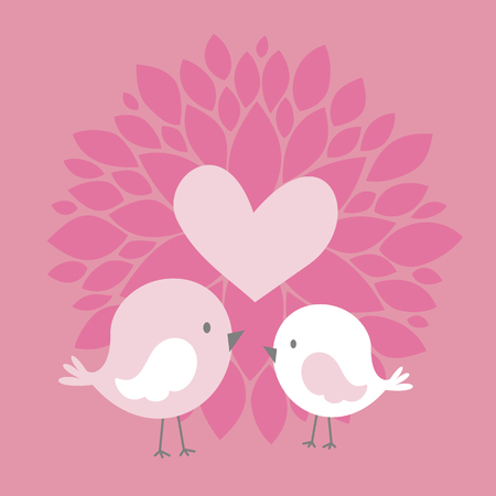 cute couple birds with heart and abstract dahlia flower on pink background