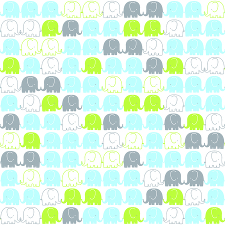 pattern: A cute elephants tileable pattern on white background Illustration