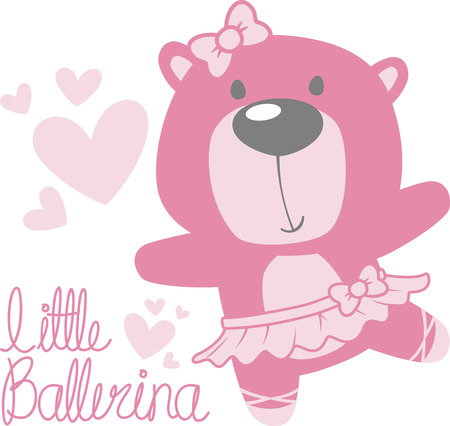 Cute baby bear ballerina with tutu and pink hearts isolated on.