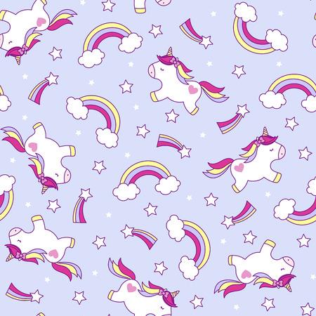 ilustración de patrón transparente de unicornios lindo con arco iris y estrellas