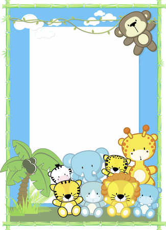cute baby animals, jungle plants and bamboo frame, children's design Vectores