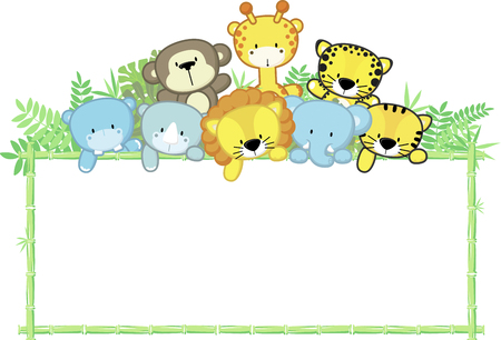 cute baby animals, jungle plants and bamboo frame, children's design 向量圖像