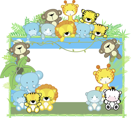 cute baby animals, jungle plants and bamboo frame, childrens design Illustration