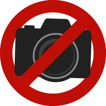 Niet toegestaan ??camera's foto's ondertekenen geïsoleerd op witte achtergrond. Stock Illustratie