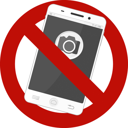 Not allowed mobile photos sign. Stock Illustratie